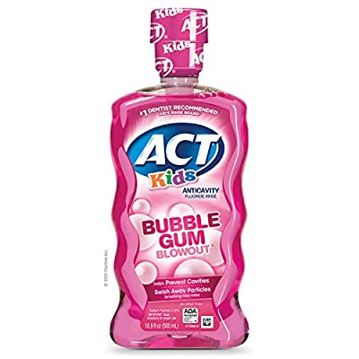 ACT Kids Anti-Cavity Fluoride Rinse Bubblegum Blowout Children's Mouthwash with Fluoride & Exact Dosage Meter,16.9 Fl Oz