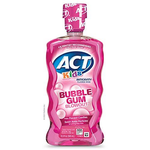 ACT Kids AntiCavity Fluoride Rinse Children's Mouthwash, Bubblegum Blowout, Bubble Gum Blow Out, 16.9 Fl Oz