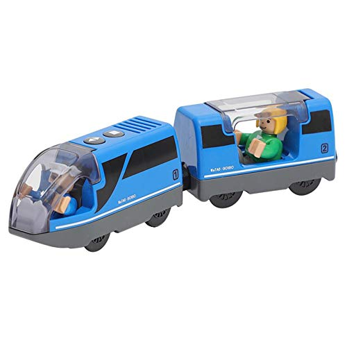 Railway Locomotive Magnetically Connected Electric Small Train Magnetic Rail Toy Compatible with Wooden Track Present for Kids