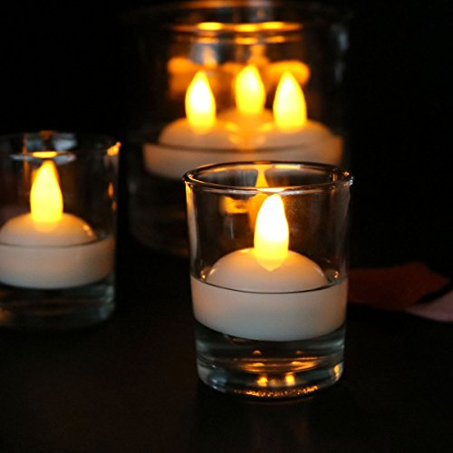 Youngerbaby 24pcs Yellow LED Flameless Flickering LED Tea lights, Waterproof Floating LED Tealight Candles, Battery Powered Romantic Floating Candles For Wedding,Pool,Fountain,Vase,Party Centerpiece