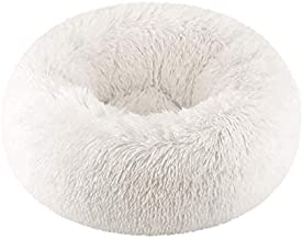 Jinjin Dog Round Cat Winter Warm Sleeping Bag Dog Bed Cat Bed Donuts Faux Fur Round Comfortable Long Plush Soft Pet Bed Calming Bed Self Warming Indoor Snooze Sleeping Cushion Bed