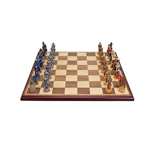 Yayan Juego de ajedrez de resina, ajedrez, tablero de ajedrez de alta gama, juego de ajedrez tridimensional, ajedrez ornamental, regalos de ajedrez (color: A, tamaño: personaje+ajedrez de 1,8 cm)