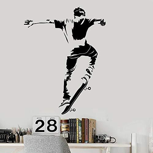 zqyjhkou Skateboarder Vinyl Wall Decal Teen Zimmer Skateboard Aufkleber Schlafzimmer Dekor Moderne Hauptdekoration Kinderzimmer Wandaufkleber 57x74cm