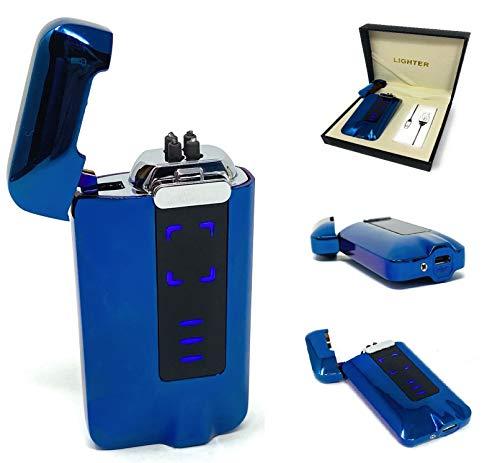 MTEC Elektrisches Feuerzeug I Hochspannungslichtbogen I Blau I USB I Touch Sensor I Flammenlos I ARC I Akkulaufzeit
