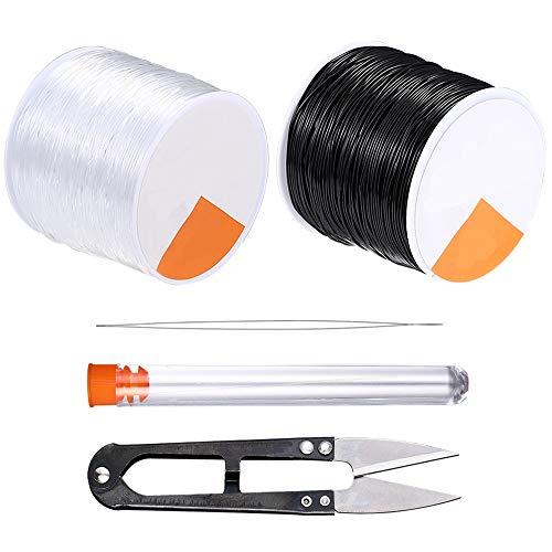 Cordoncini elastici da 0,8 mm per la creazione di gioielli, 50 m, colore nero e 50 m, con filo elastico trasparente per perline, filo elastico per bracciali, corda con ago e forbici