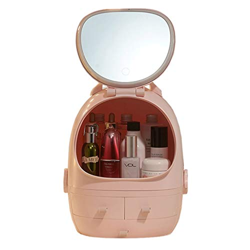 DWQ Cosmetic Storage Box, Travel Makeup Box with Mirror, Desktop Finishing Dresser, Clear and Portable Finishing (Color : Pink)