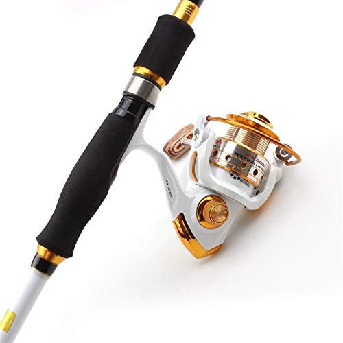 AMNVBD 1.8M 2.1M 2.4M 2.7M Travel fishing Tackle Lure carbon Travel and Spinning Reels Multifunction Fishing Tackle set (Color : Black gold, Size : 2.7M rod and Reel)