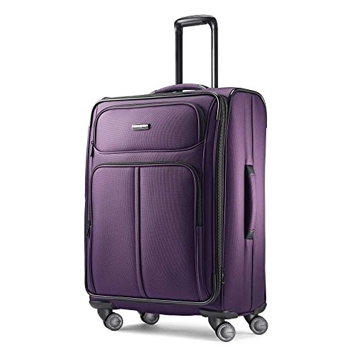 Samsonite Leverage LTE Softside Expandable Luggage with Spinner Wheels, Purple, Checked=Medium 25-Inch