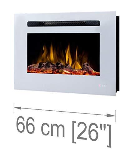 Noble Flame Paris Weiß 660 - Elektrokamin Wandkamin Kaminofen Kamin - Wandmontage Fernbedienung - 14,0 cm Einbautiefe - Verschiedene Breiten