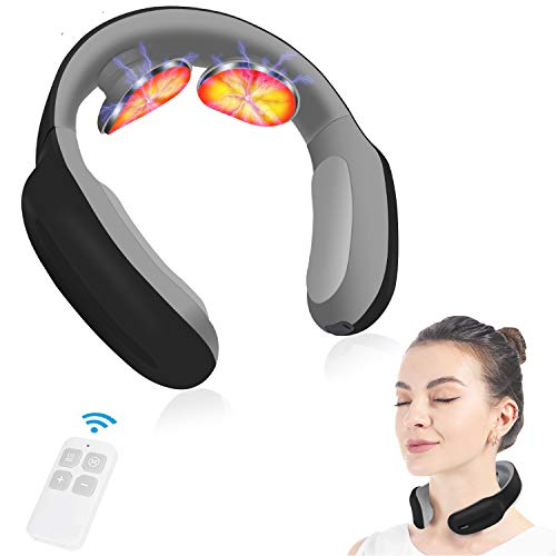 Neck Massager with Pulse Heated,Portable Smart Cordless 4D Electric Neck Massage Equipment with 3...