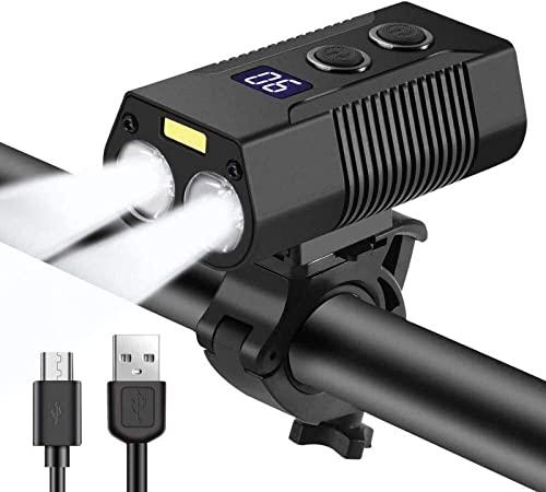 CJDM Set di luci per Bici (Set di luci per Bici Super Luminose) Luce Anteriore per Bicicletta Faro Notturno per Equitazione T6 Evidenziazione Indicatore di Batteria Digitale Ricaricabile USB IPX6
