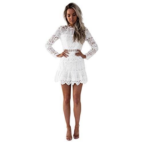 Amlaiworld Damen Blumen Spitze Hohl Cocktailkleid Retro kurz Luxuriös Strickkleid Mini Kleider Sommer Party elegant Kleid Frühling Abendkleid (M,...