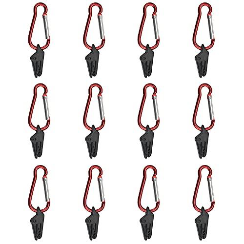 TANCUDER 12 PCS Clips de Toldos con Mosquetón Clips de Lona de Plástico Clips para Tienda de Campaña Clips Abrazadera de Toldo Abrazaderas para Tiendas de Campaña para Actividades al Aire Libr