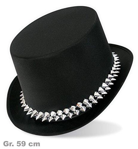 Déguisement 38027 cylindre punk noir-taille 59, chapeau neuf/emballage d'origine