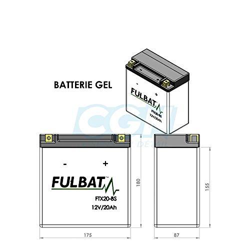 Fulbat - Batería moto Gel YTX20L-BS/FTX20L-BS 12V 18Ah