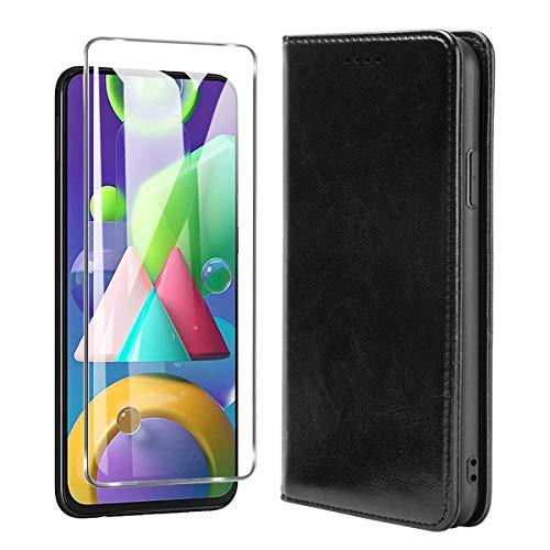 SCDMY Para Xiaomi Mi 11 Lite 5G Funda de Cuero + Cristal Templado, Negocio PU Flip Cuero Carcasa Protectora Ranuras Tarjetas Soporte Cierre Case Cover - Negro