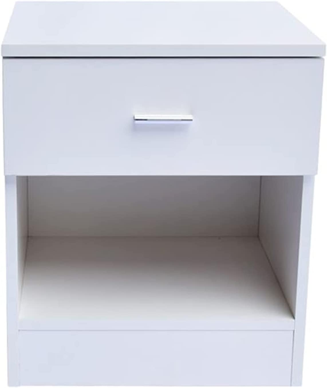 Qikafan Solid Wood Night Max 59% OFF Table Handle Cabinet Bedside 1-Dr Super special price Metal