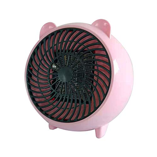 VEEKI Mini Desktop Space Heater, Fan Heater Personal Mini Space Heater Portable Electric Heaters Fan with PTC Ceramic Heating Element and Overheat Protection (Pink) Electric heaters Space