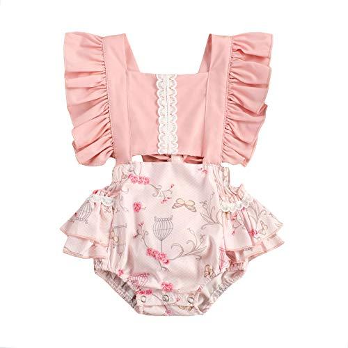 MAHUAOYIXI Bebé recién nacido femenino bebé rosa estampado volantes lazo corbata princesa vestido bebé niña manga corta mono casual Rosa. 6-12 meses