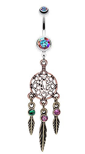 Majestic Elegance Dream Catcher Belly Button Ring - 14 GA (1.6mm) - Aurora Borealis - Sold Individually