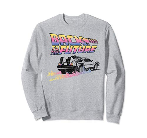 Adults Unisex Back To The Future DeLorean Flames Gray Sweatshirt, Licensed, S to 2XL