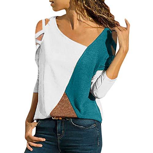 iHENGH Damen Top Bluse Lässig Mode T-Shirt Frühling Sommer Frauen Bequem Blusen Casual Panel Tops Rundhals Lange Ärmel Schulterfrei (Weiß, XL)