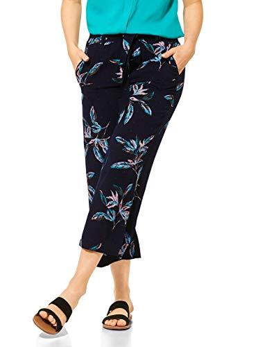 Cecil Damen 373205 TOS Wide Leg Flower Hose, deep Blue, M