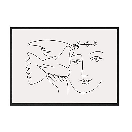 Picasso Matisse Poster und Drucke abstrakte Mädchen Vogel Linie Leinwand Bild nach Hause rahmenlose dekorative Leinwand Malerei B 30x45cm