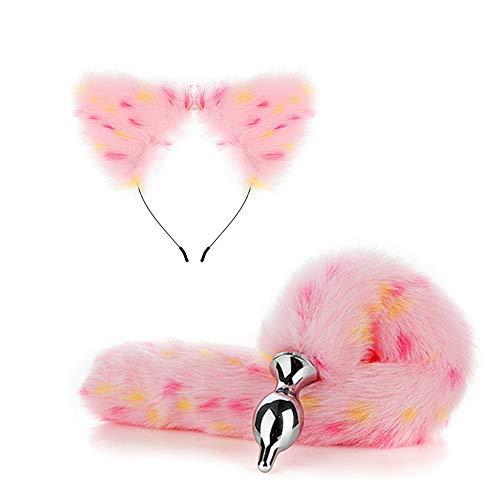 2 PCS Fluffy Faux Rose Couture Queue & Chat Oreilles Bandeau Charmes Jeu de Rôle Costume Fête Mascarade Cosplay Accessoires D'amour pour Doux bébé