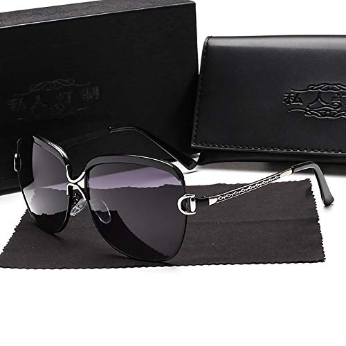 APCHY Gafas De Sol Mujer Decoración De Metal De Moda Polarizada Ultraligera Protección UV400 Conducir Viajar Gafas De Luz Azul,Negro
