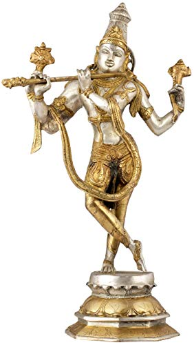 Exotic India Cosmic Form of Lord Krishna - Brass Statue - Color Silver Gold Color