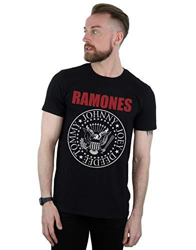 Absolute Cult Ramones Hombre Red Text Seal Camiseta Negro Medium