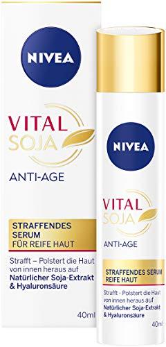 NIVEA Vital Soja Anti-Age Serum für reife Haut (40 ml), Feuchtigkeitspflege mit natürlichem Soja-Extrakt, straffendes Serum mit Hyaluronsäure