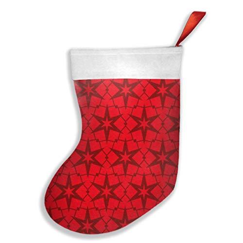OUYouDeFangA Weihnachtsstrümpfe, rotes Wellenmuster, Weihnachtsstrümpfe, Party-Geschenk, Dekoration, Süßigkeiten-Socken, hängendes Zubehör