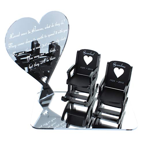 Loved Ones in Heaven Memorial Decorations in Loving Memory Personalised Gift Wedding Table Heart Plaque - 5 WORDING CHOICES - LittleShopOfWishes (Mirror Silver Acrylic 12.5cm Heart, Base & 2 Chairs)