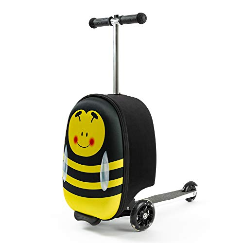 Kiddietotes Lightweight Carry-on Scooter Suitcase for Boys - Kids Luggage with LED Light Up Wheels - Monster