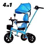 NBgycheche Triciclo Trike Triciclo para niños Trike 3 Wheeler, Bicicleta de Viaje con Bicicleta de Manillar para Padres Pedal Plegable Pedal Plegable Multi-Function Push Trikes (Color : Blue)