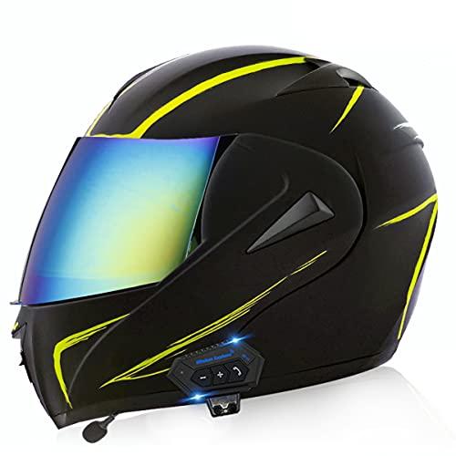 Cascos De Motocicleta De Cara Completa Modular Flip Up Bluetooth Motorbike Casco Ece / Dot Aprobado Con Anti-niebla Visa Doble Impermeable Para Hombres Y Mujeres Adultos(Size:XS(53-54CM),Color:C)