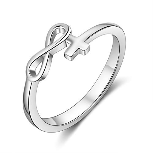 925 Sterling Silver Infinity Cross Rings Female Finger Rings Endless Love Wedding Engagement Jewelry Gifts 7
