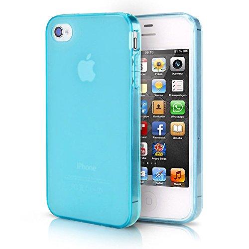 doupi PerfectFit Schutzhülle für iPhone 4 / 4S, Staubschutz eingebaut mit Staubstöpseln Matt Clear Design TPU Schutz Hülle Silikon Schale Bumper Case Schutzhülle Cover, blau