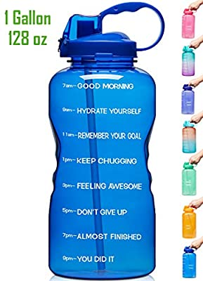 Venture Pal Large 128oz (When Full) Leakproof Fitness Sports Water Bottle with Motivational Time Marker & Straw to Ensure You Drink Enough Water Throughout The Day -Deep Blue