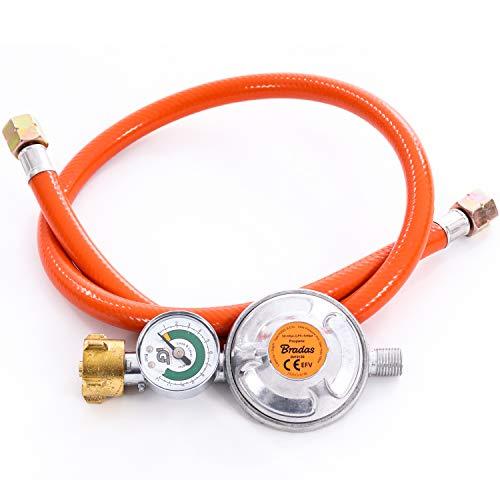 Gasschlauch Set bestehend aus Gasdruckregler 50 mbar mit Manometer und Sicherheitsventil sowie flexiblem Gasschlauch 80 cm - ideal für Gasgrills, Heizstrahler, Hockerkocher, Gaskocher, Lampen, uvm.