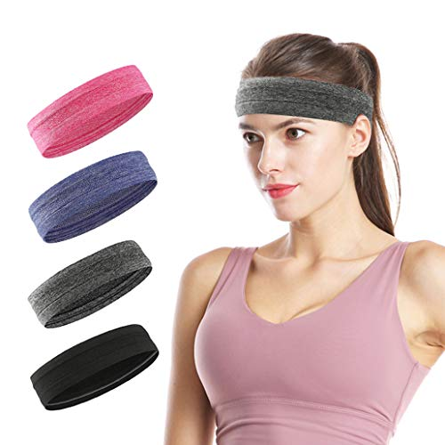 Sports Headbands for Women/Men, Stretchy Workout Sweat Band with Cotton Fabric and Silicone Non Slip Ring, Lightweight and Soft,Elastic Exercise Hair Bands for Running Yoga Fitness Head Band- 4PCS