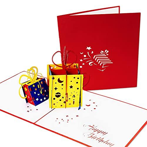 LuckeeCards® 3D Geburtstagskarte - Glückwunschkarte Geburtstag - Gutscheinkarte - Pop-up Karte - Happy Birthday Karte - Geschenkkarte mit Motiv