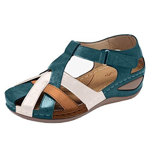 sandali ortopedici donna scarp beige donna espadrillas donna platform open toe donna sandali donna con fiore sandali pianta larga donna (G27-Green,38)