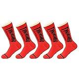 LVYY Sportsocken 5 Paare Baumwolle atmungsaktiv Feuchtigkeit Wicking Mannschaft Socke (Color : Red, Size : 5 Pairs)