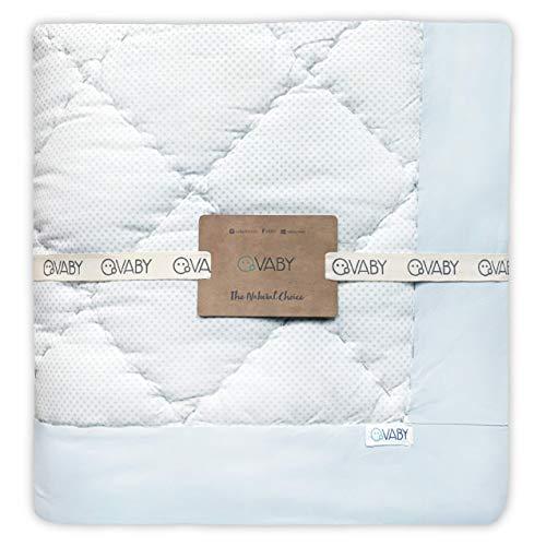 VABY - Krabbeldecke OEKO-TEX® (Türkis), aus Baumwolle 120x120 cm, handgefertigt, Laufgittereinlage, Spieldecke quadratisch, Junge und Mädchen