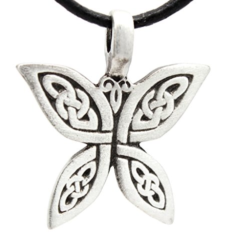 Trilogy Jewelry Pewter Butterfly with Celtic Knots Pendant on Leather Necklace