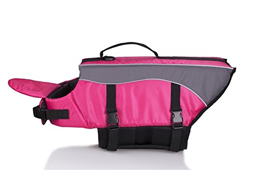 Rantow Dog Life Jacket - with Superior Buoyancy & Rescue Handle - Sports Lifesaver Reflective Safety Vest Pet Life Preserver Swimsuit - Best in Pool, Beach, Boating (XS, Pink)