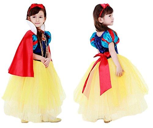 (eones)白雪姫風 プリンセスドレススカート 5層構造 ふんわり キッズドレス マント、カチューシャステッキ ...